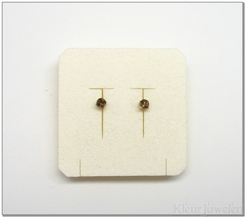 Geelgouden oorstekers met rookkwarts (14k)