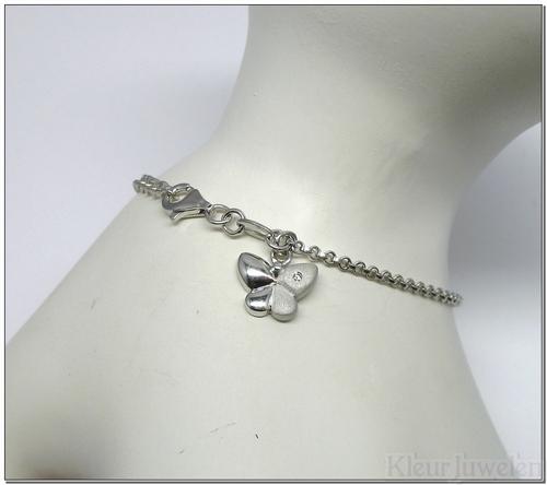 Armband met vlinderbedel met diamant