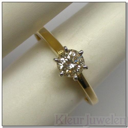 Geelgouden ring met gele diamant (14k)