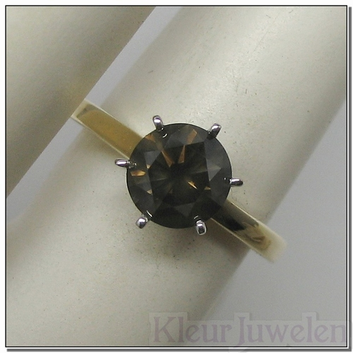Geelgouden ring met bruine diamant