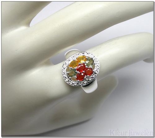 Ring multicolour saffier