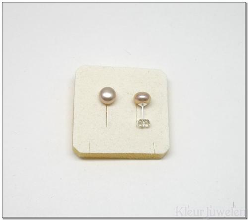 Parel oorstekers 8 mm roze