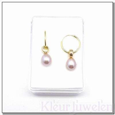 Geelgouden oorhangers met roze parels (14k)