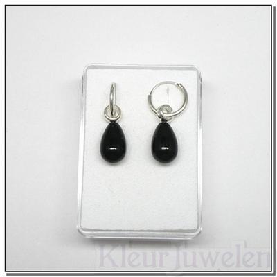 Zilveren oorhangers met zwarte onyx