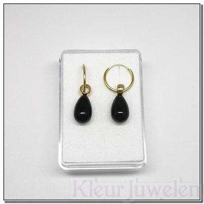 Geelgouden oorhangers met zwarte onyx (14k)