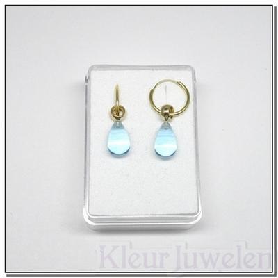 Geelgouden oorhangers met blauwe topaas (14k)