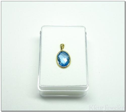 Geelgouden hanger met ovale blauwe topaas (14k)
