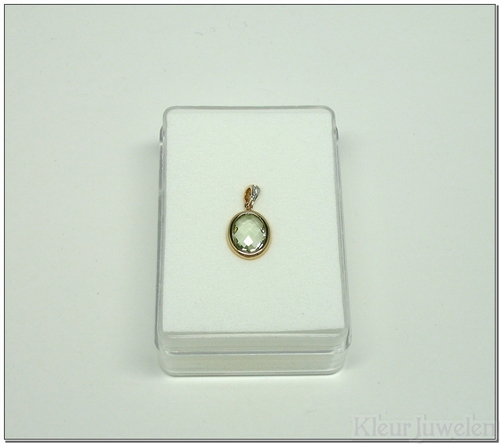 Roodgouden hanger met ovale groene amethist en diamant (14k)