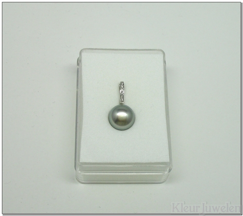 Witgouden cliphanger met grijze parel en diamanten (14k)