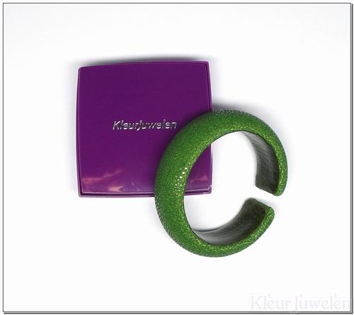 Roggenleren armband olijfgroen