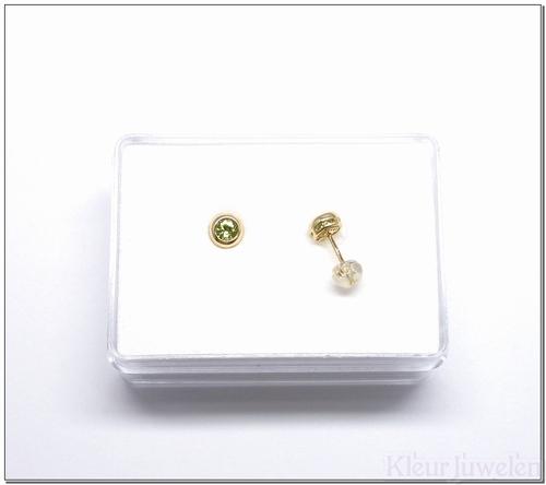 Geelgouden oorstekers met ronde peridoot (14k)