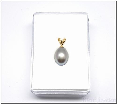 Geelgouden hanger met grijze parel (14k)