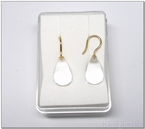 Geelgouden oorhaken met gladde bergkristal (14k)