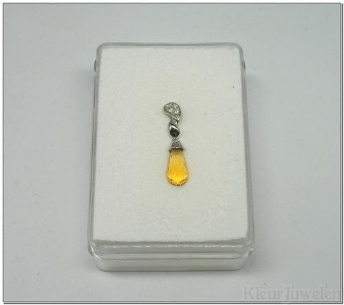 Witgouden hanger met citrien en diamant (14k)