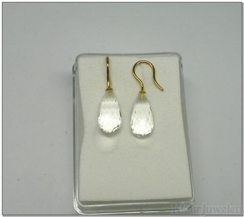 Geelgouden oorhaken met bergkristal (14k)