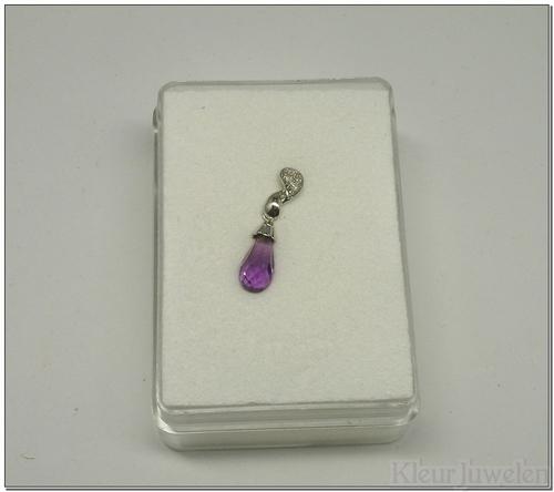 Witgouden hanger met amethist en diamant (14k)