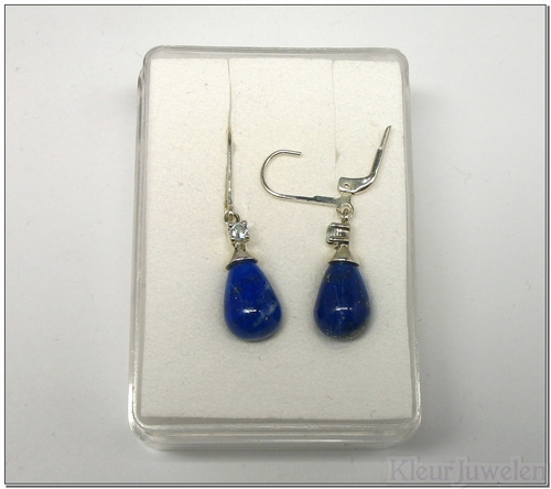 Oorbellen met lapis lazuli en blauwe topaas