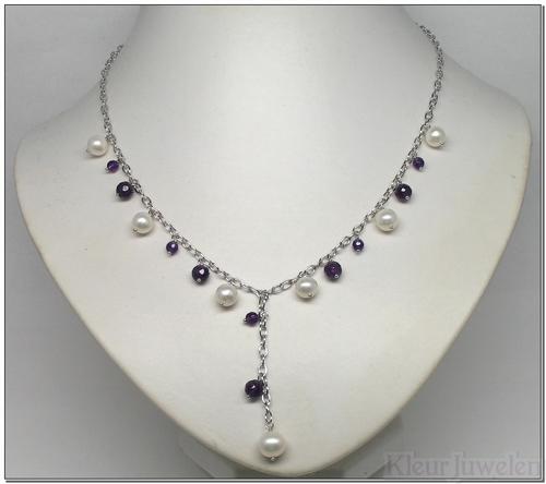 Zilveren ketting met amethist en parels