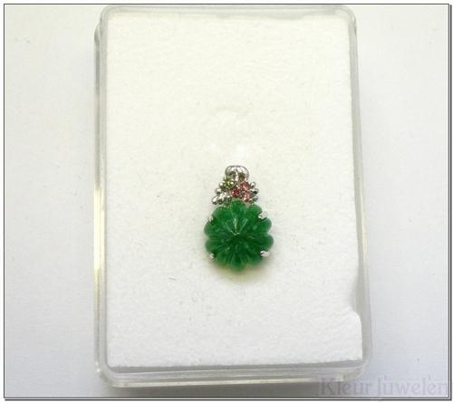 Witgouden hanger met groene jade, peridoot en toermalijn