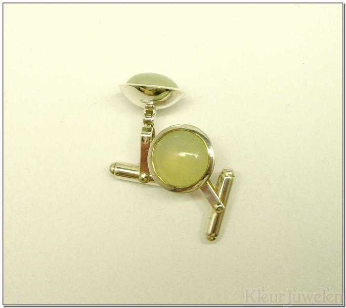 Zilveren manchetknopen met zeegroene chalcedoon edelstenen