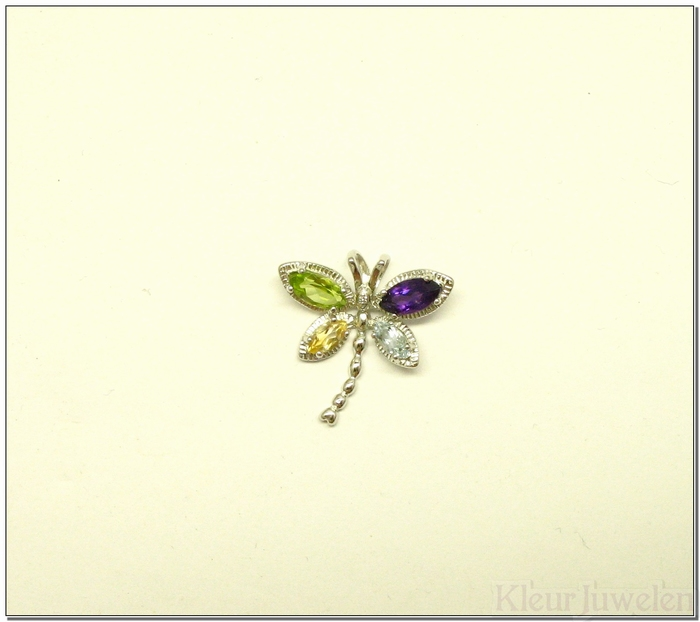 Zilveren libelle met verschillende edelstenen