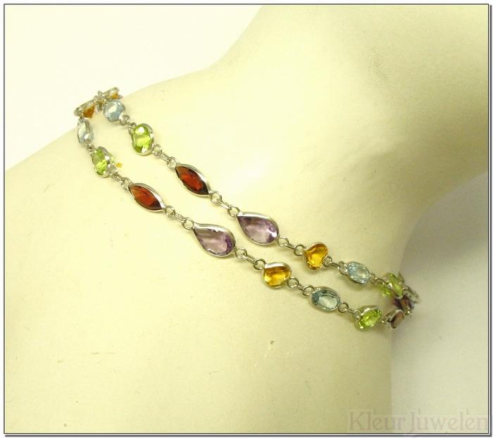 Witgouden armband met dubbele rij edelstenen (14k)