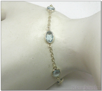 Zilveren armband met ovale blauwe topaas