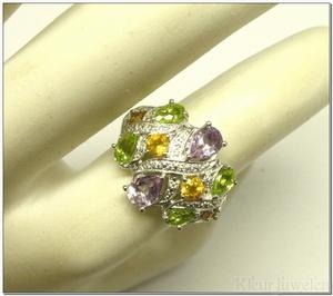 Ring met amethist, citrien en peridoot - ringmaat 16,75 mm