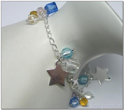 Zilveren armband met muranoglas