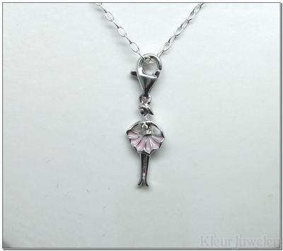 Zilveren bedel ballerina met diamant