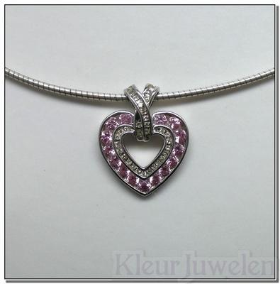 Witgouden hanger met diamant en roze saffier (14k)