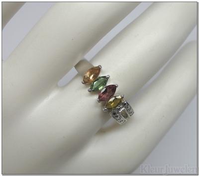 Ring met markies geslepen toermalijn edelstenen