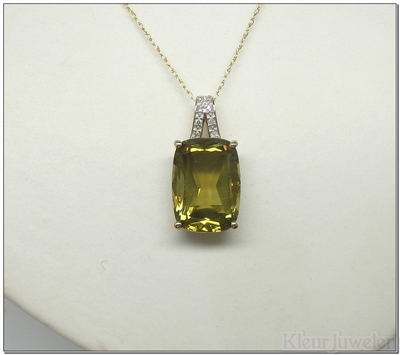 Geelgouden hanger met lemonkwarts en diamant (14k)