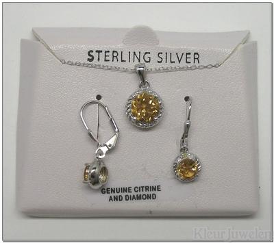 Zilveren set met citrien