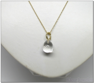 Geelgouden clip-hanger met bergkristal (14k)
