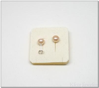 Parel oorstekers 8 mm creme