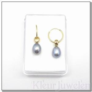 Geelgouden oorhangers met grijze parels (14k)