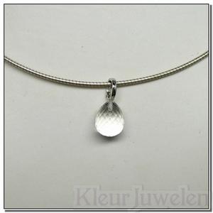 Zilveren clip-hanger met bergkristal