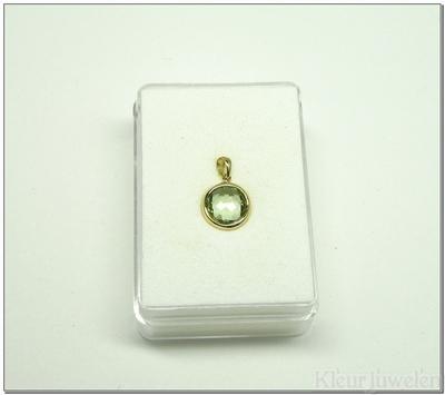 Geelgouden hanger met ronde groene amethist van 8 mm (14k)