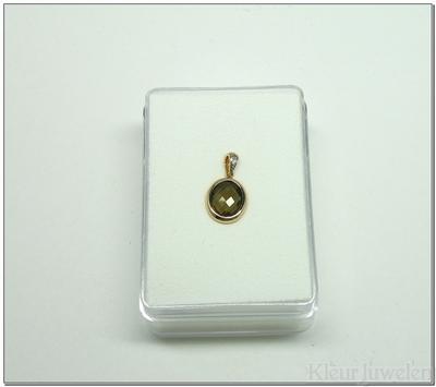Roodgouden hanger met ovale rookkwarts en diamant (14k)