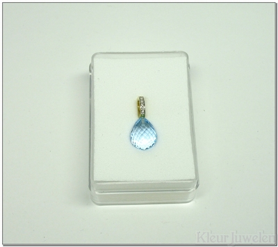 Geelgouden cliphanger met blauwe topaas en diamanten (14k)