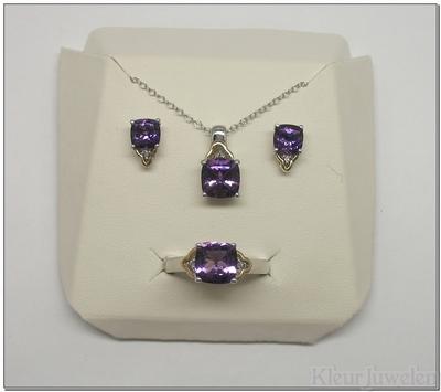 Set verguld amethist met diamant