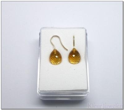 Geelgouden oorhaken met goudkleur citrien (14k)