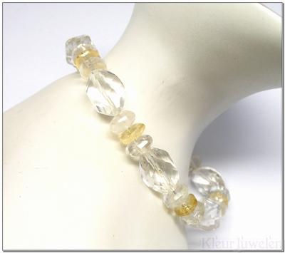 Edelsteenarmband met bergkristal en citrien