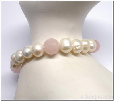 Zoetwaterparel armband met rozenkwarts