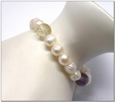 Zoetwaterparel armband met diverse edelstenen