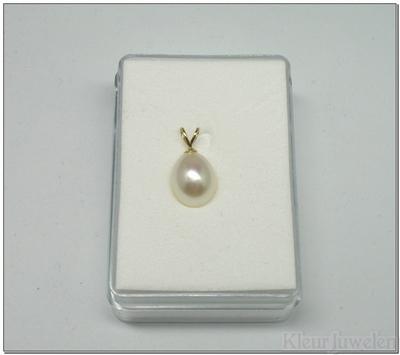 Geelgouden hanger met witte parel (14k)