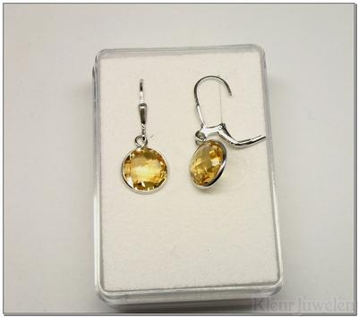 Zilveren oorbellen met ronde citrien (10mm)