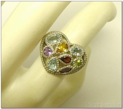 Zilveren hartvormige multicolour ring
