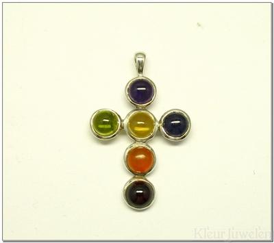 Zilveren multicolour kruis